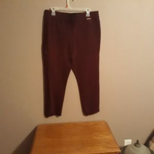 Capri dress pant. (Color is burgundy )